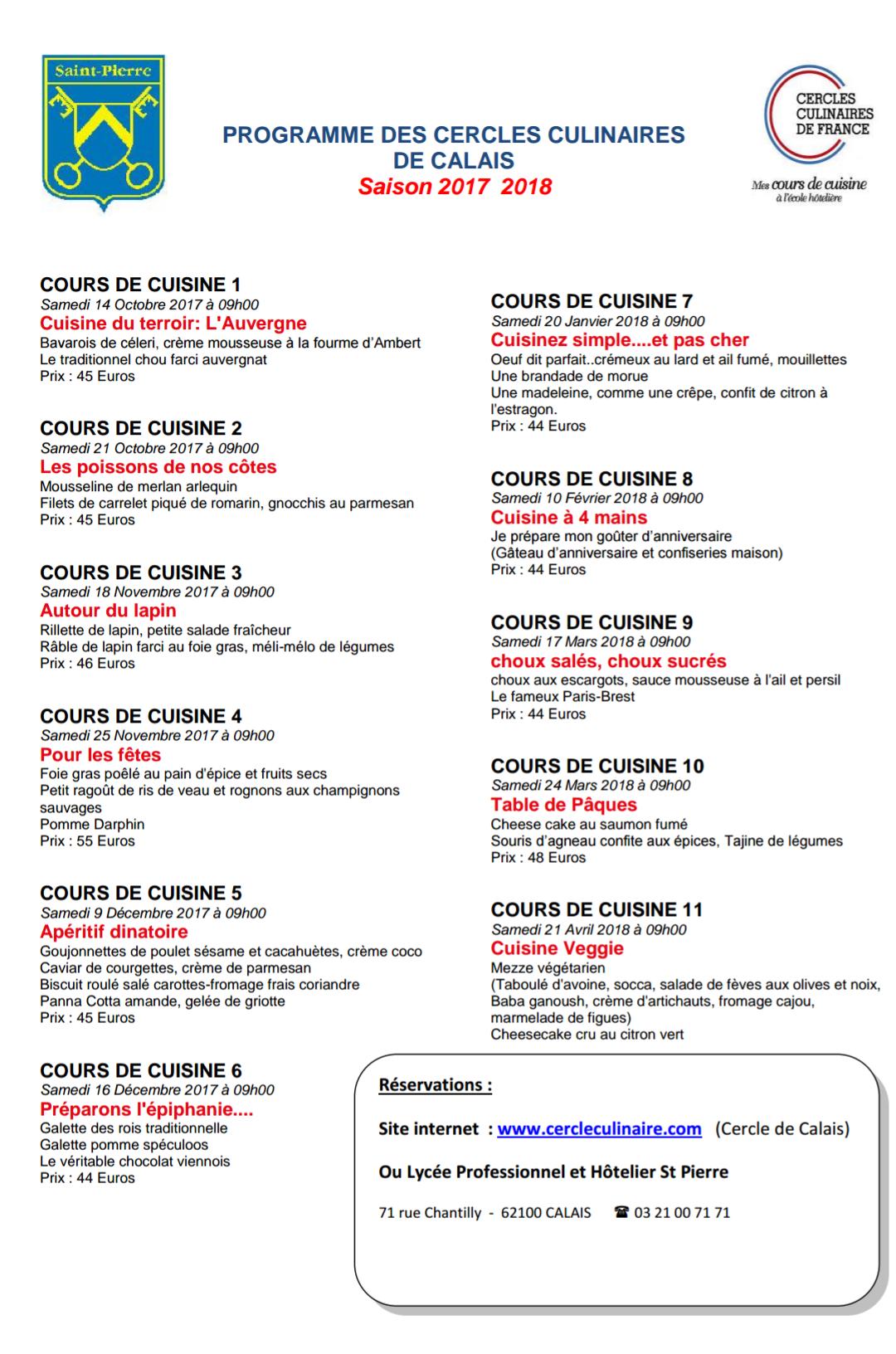 Centre scolaire saint pierre programmation cercles for Programme bac pro cuisine